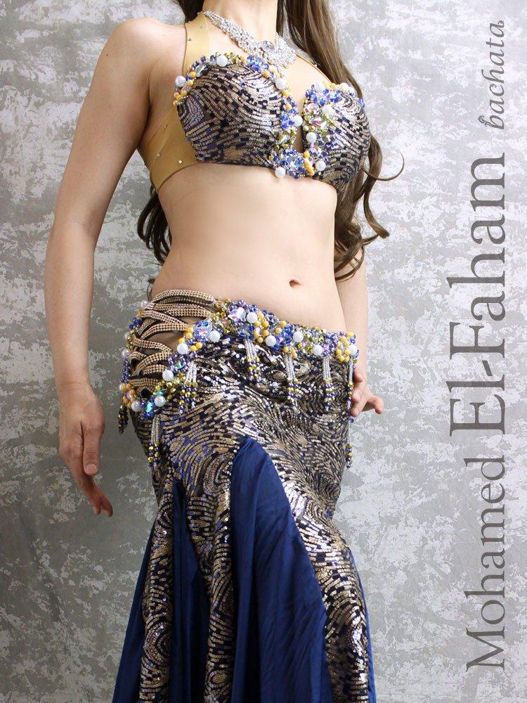 ベリーダンス衣装・El-Faham・ネイビー×ゴールドスパン(S-M) (送料無料)
