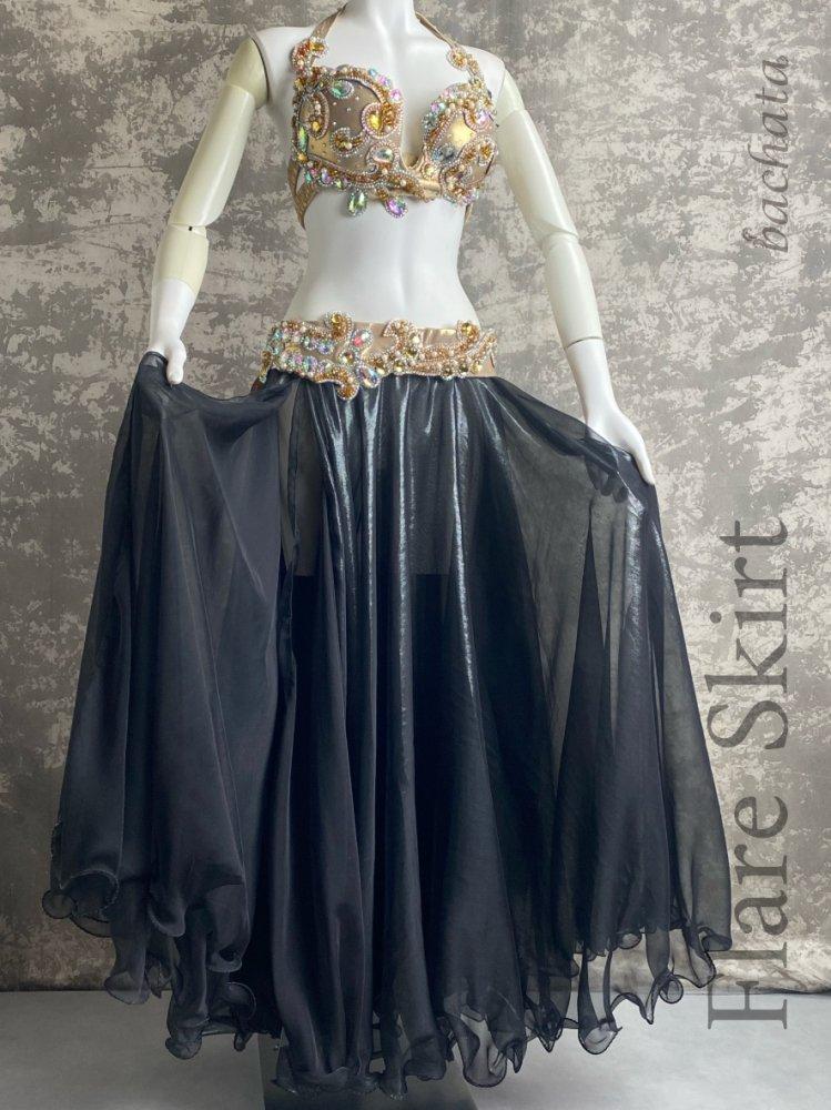エジプト製・フレアスカート・光沢ブラック・SK0184