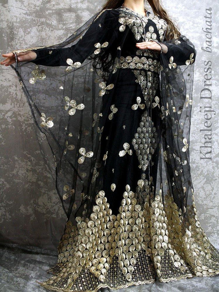 エレガント刺繍ハリージドレス・ブラック・KH0207