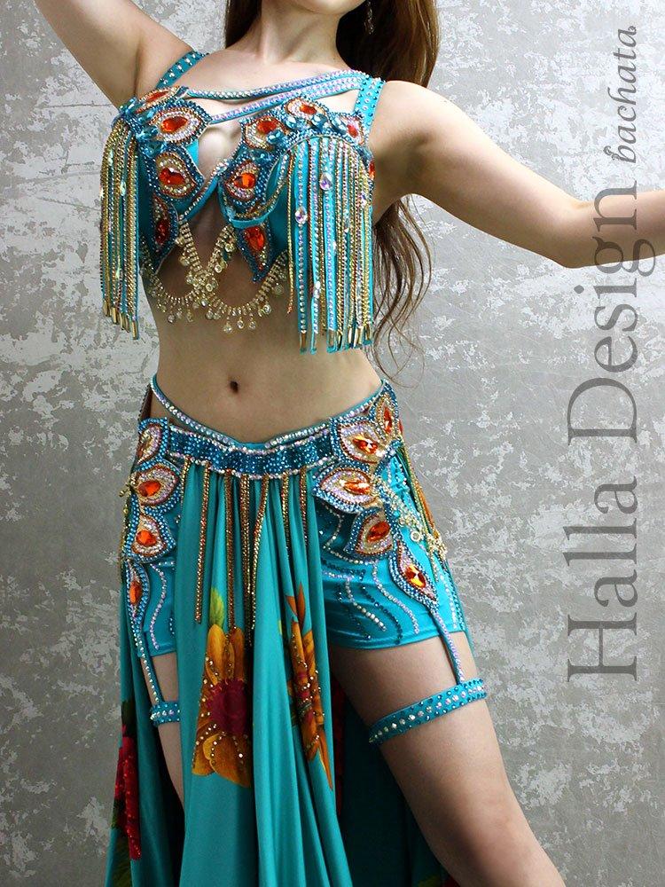 ベリーダンス衣装 Halla Belly Design・ターコイズ・M-L (送料無料)