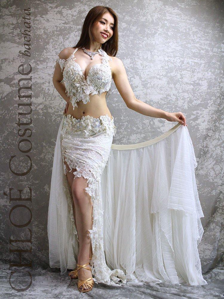 【セミオーダー】ベリーダンス衣装 CHLOÉ ・ホワイト・ブラ×ミニ&フレアスカート2枚セット(送料無料)