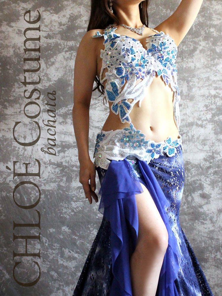【セミオーダー】ベリーダンス衣装 CHLOÉ ブルー 374 (送料無料)