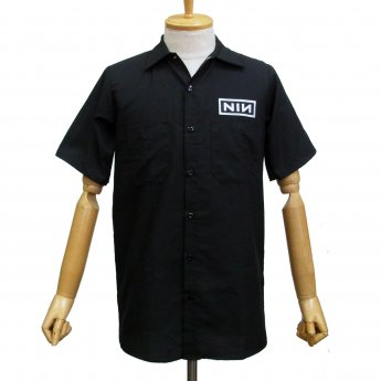 CUSTOM MADE - NINE INCH NAILS LOGOS SHORT SLEEVED WORKSHIRT