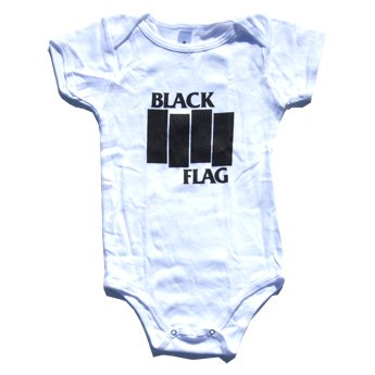 BLACK FLAG - BARS & LOGO WHITE BABY ONESIE