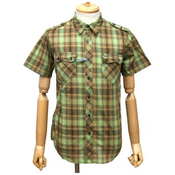 <img class='new_mark_img1' src='//img.shop-pro.jp/img/new/icons24.gif' style='border:none;display:inline;margin:0px;padding:0px;width:auto;' />ATTICUS CLOTHING - CROSSING COFFEE SHORT SLEEVED BUTTON UP SHIRT
