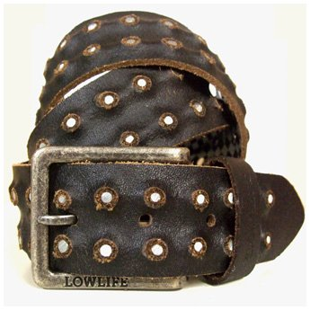 <img class='new_mark_img1' src='https://img.shop-pro.jp/img/new/icons24.gif' style='border:none;display:inline;margin:0px;padding:0px;width:auto;' />LOWLIFE - WHEELER BROWN LEATHER BELT WITH SILVER STUDS