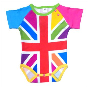 BABY ROMPERS - UK FLAG CRAZY SHORT SLEEVE
