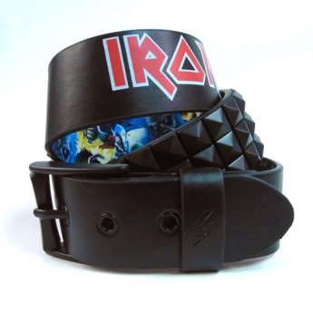 IRON MAIDEN & LOWLIFE - BEST OF THE BEAST BLACK LEATHER BELT WITH BLACK STUDS