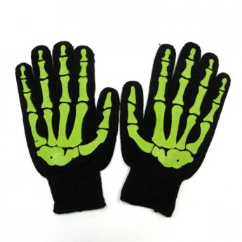 MENS GLOVES - SKULL BONE BLACK & GREEN