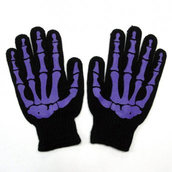 MENS GLOVES - SKULL BONE BLACK & PURPLE