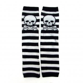 KIDS LEG WARMER - SKULL BORDER BLACK&WHITE