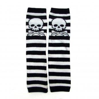 KIDS LEG WARMER - SKULL BORDER BLACK&WHITE