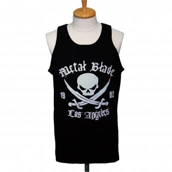 METAL BLADE RECORDS - WHITE PIRATE LOGO ON BLACK TANKTOP