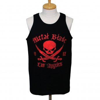 METAL BLADE RECORDS - RED PIRATE LOGO ON BLACK TANKTOP