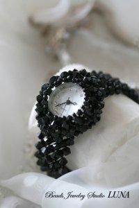 スワロフスキー時計バングル ブラック2種