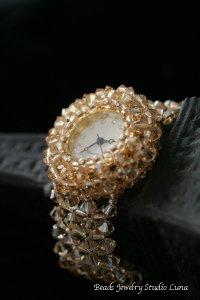 スワロフスキー時計バングル ゴールド