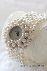 スワロフスキーパール時計バングル ホワイト(KIT)