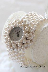 スワロフスキーパール時計バングル ホワイト