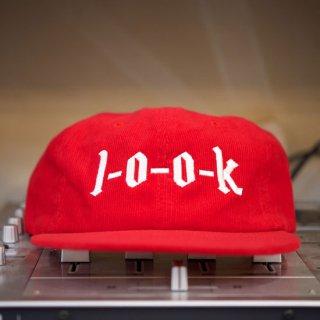l-o-o-k  corduroy logo cap RED