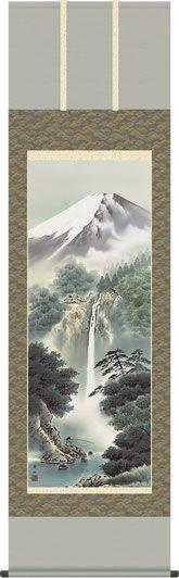 掛け軸 掛軸-富士瀧瀑/鈴村 秀山(尺五・桐箱・風鎮付)和室、床の間に山水画掛け軸を飾る