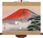 赤富士飛翔(ミニ掛軸・飾りスタンド付き)