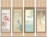 掛け軸 掛軸-四季花鳥[四幅組]/伊藤 渓山(尺五・桐箱・風鎮付)和室、床の間に飾る