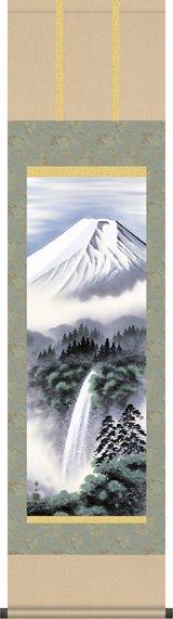 掛け軸-富士幽谷/鈴村秀山(尺三・化粧箱・風鎮付き)小さい山水画掛軸