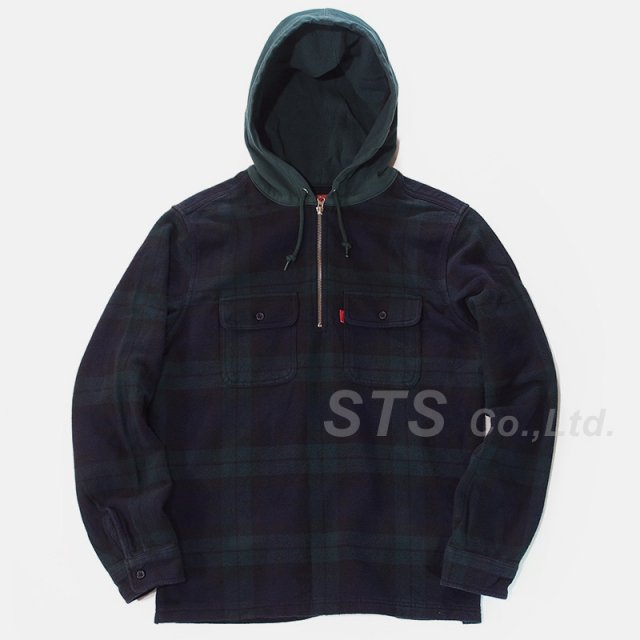 Supreme - Hooded Plaid Half Zip Shirt