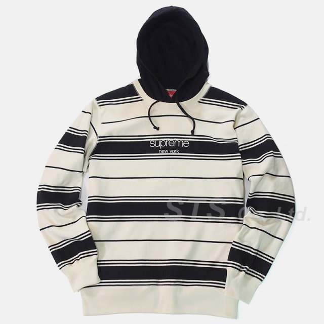 Supreme - Striped Hooded Crewneck