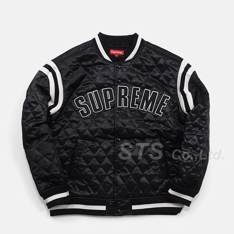 Supreme - Quilted Satin Varsity Jacket
