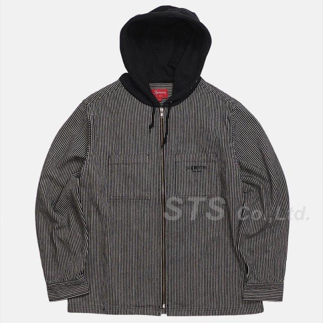 Supreme - Hooded Stripe Denim Zip Up Shirt