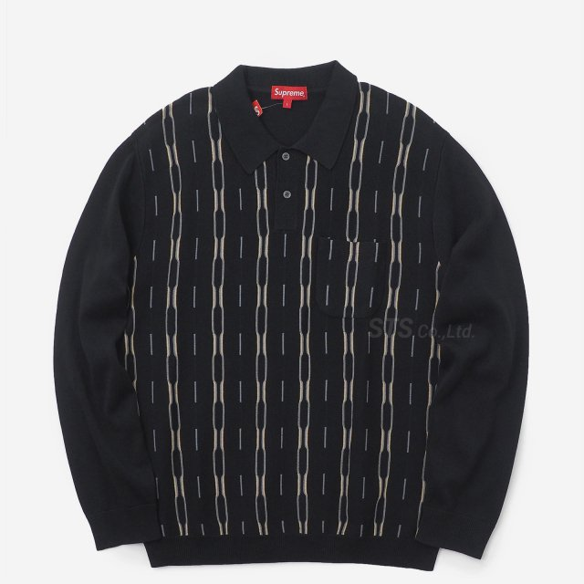 【SALE】Supreme - Vertical Stripe Knit L/S Polo