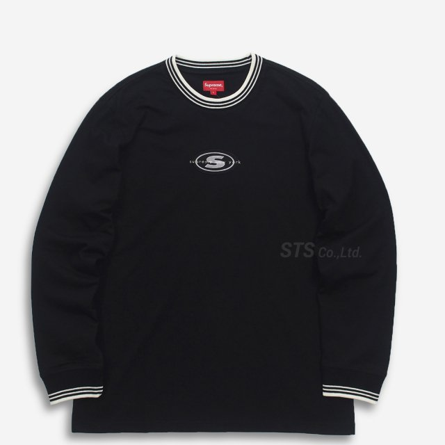【SALE】Supreme - Striped Rib Logo L/S Top