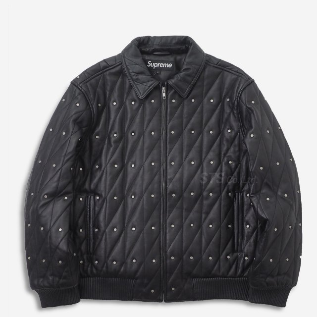 【SALE】Supreme - Quilted Studded Leather Jacket