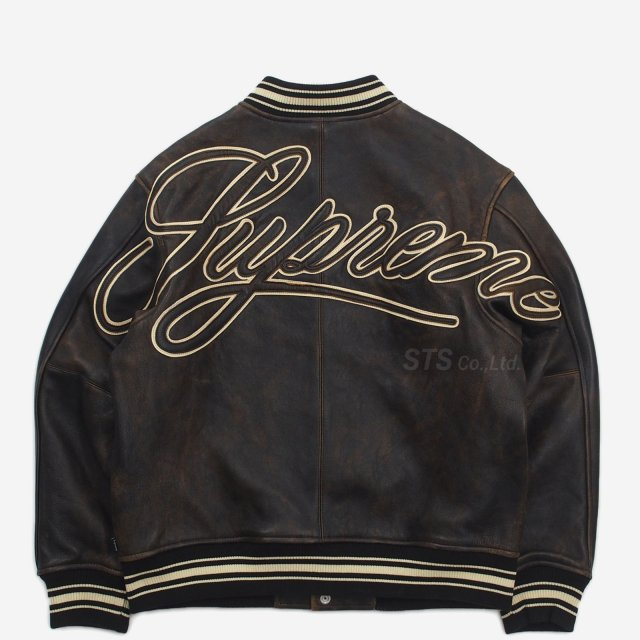 Supreme - Worn Leather Varsity Jacket