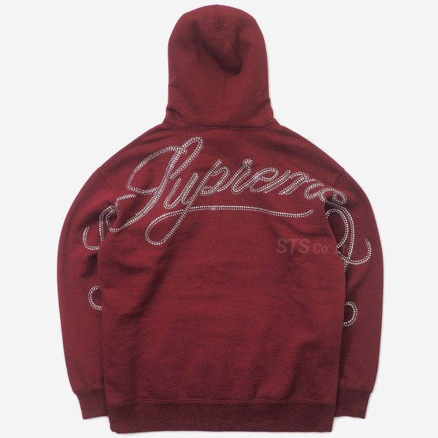 【SALE】Supreme - Rhinestone Script Hooded Sweatshirt