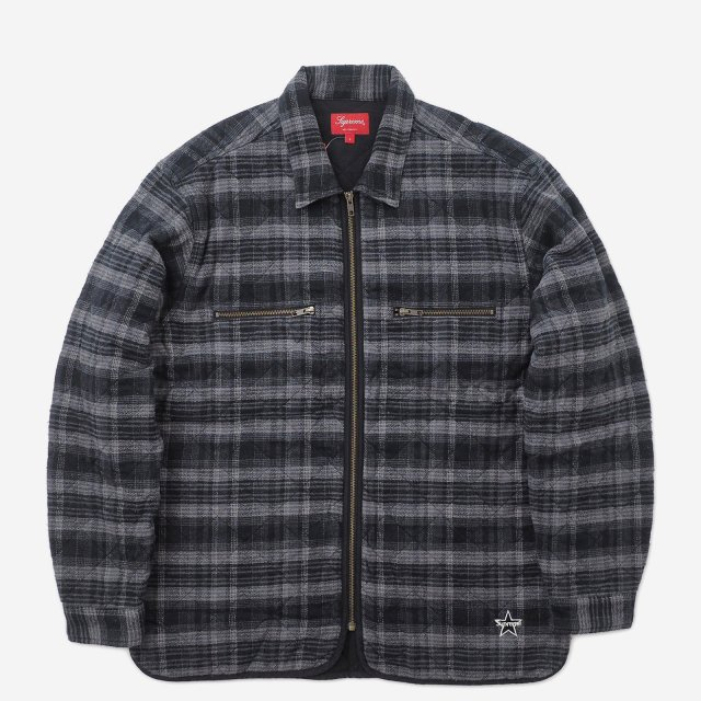 Supreme - Quilted Plaid Zip Up Shirt