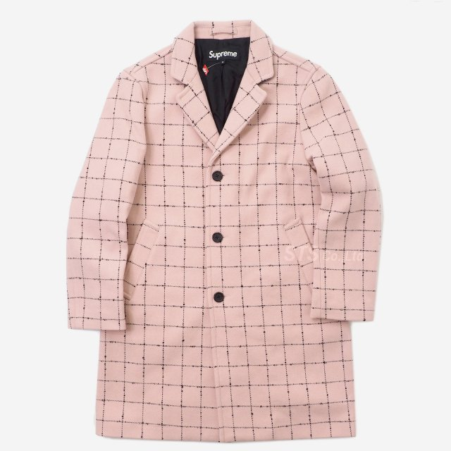 【SALE】Supreme - Wool Windowpane Overcoat