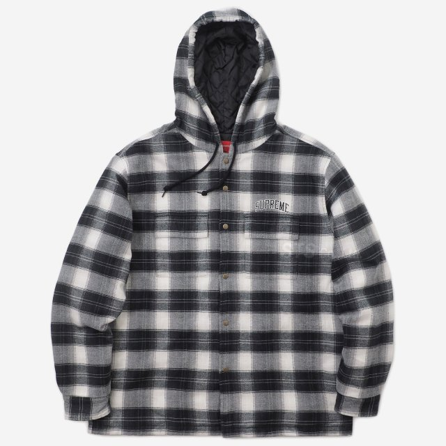 Supreme - Quilted Hooded Plaid Shirt