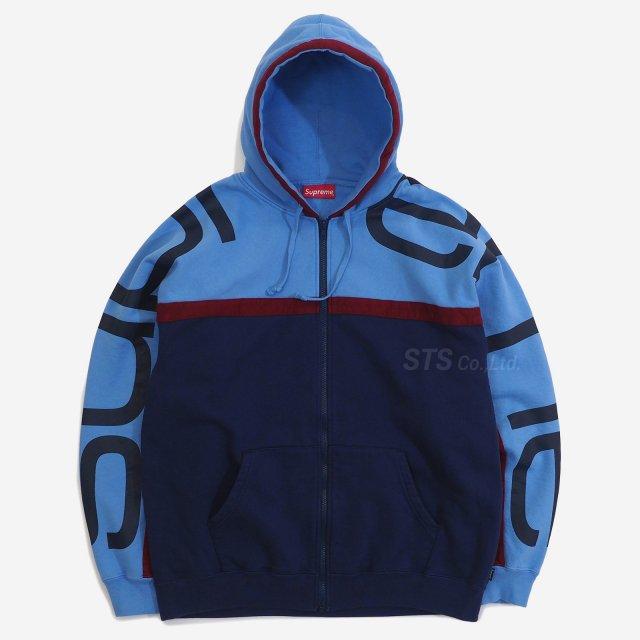 Supreme - Big Logo Paneled Zip Up Hooded Sweatshirt
