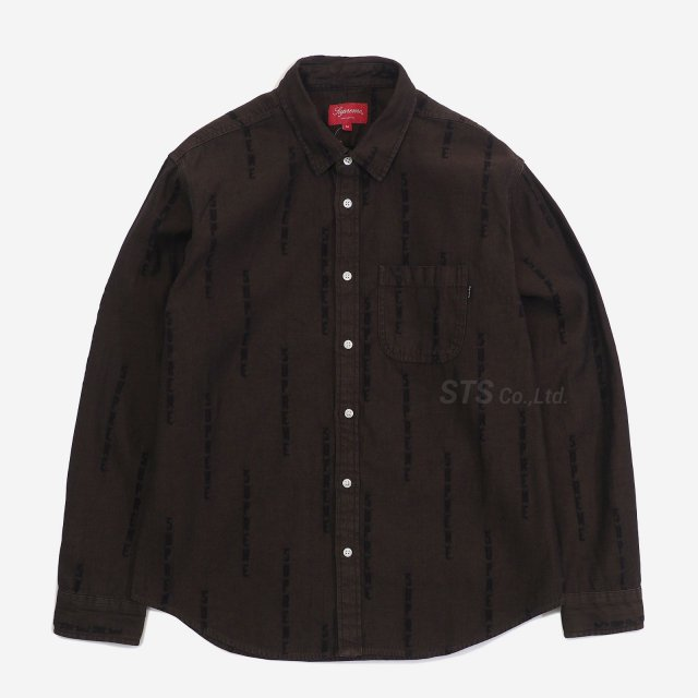 Supreme - Logo Stripe Jacquard Denim Shirt