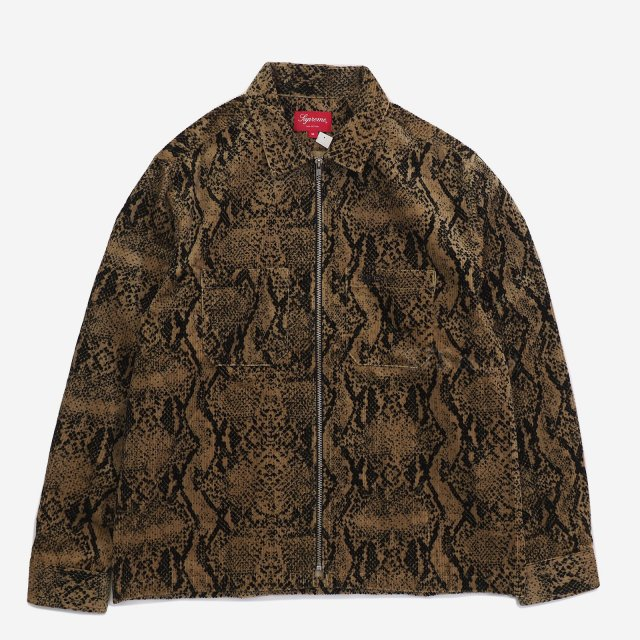 【SALE】Supreme - Snakeskin Corduroy Zip Up Shirt