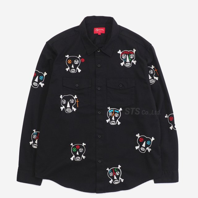 Clayton Patterson/Supreme Skulls Embroidered Work Shirt