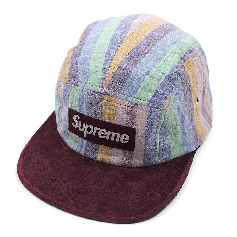 Supreme - Striped Linen Suede Camp Cap