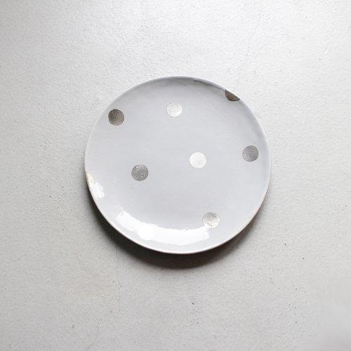 7寸皿 / 銀彩 _ ドット・Gray