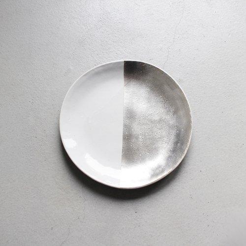 7寸皿 / 銀彩 _ 切替・White