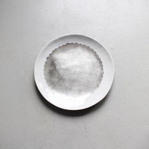7寸皿 / 銀彩・White