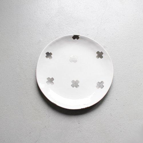 7寸皿 / 銀彩 _ 十字・White