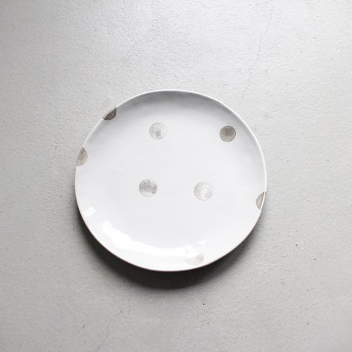 7寸皿 / 銀彩 _ ドット・White