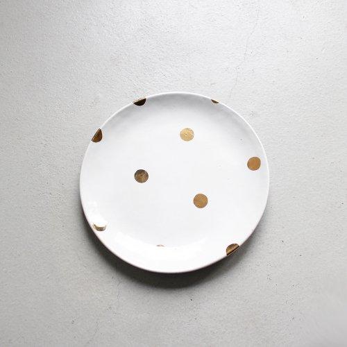 7寸皿 / 金彩 _ ドット・White